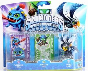 Skylanders Spyro's Adventure: Набор интерактивных фигурок Wrecking Ball, Crystal Stealth Elf, Sonic Boom