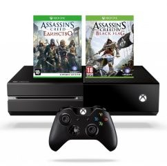 ������ Microsoft Xbox One 500Gb Rus Black + Assassin's Creed: �������� (Unity) + Assassin's Creed: ������ ���� (Black Flag) (��� �� ��������). ����� ������ ����!