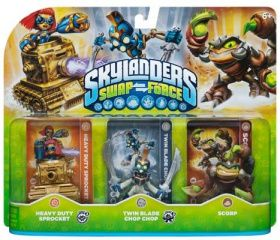 Skylanders Swap Force. Набор из трех фигурок: Scorp, Twin Blade Chop Chop, Heavy Duty Sprocket
