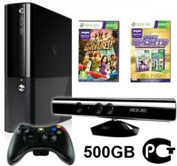 ������ Microsoft Xbox 360 Slim E 500Gb Rus Black + Kinect ������ �������� + ������� Kinect Adventures 5 ��� + Kinect Sports Ultimate Collection (����� 1 + ����� 2) ������� ������. ����� ������ ����!
