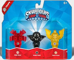 Skylanders Trap Team: Набор из трех ловушек: Fire Totem (огонь), Kaos Trap (хаос), Tech Flying Helmet (технология)