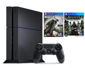 Купить Игровая приставка Sony PlayStation 4 1Tb Rus Черная + Assassin's Creed 6 (VI): Синдикат + Watch Dogs Sony PS4