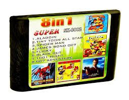 SK 8002 (8 In 1) ALADDIN/TINY TOON ALL STAR/Spider-Man/ 007/1001 NIGHT (Sega) для Sega