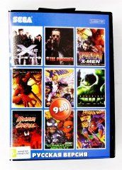 Сборник игр 9 в 1 AC9001 Spider-Man / X-Men 2 / MAximum Carnage / Incredible Hulk / Punisher Русская Версия (Sega) для Sega
