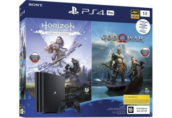 Игровая приставка Sony PlayStation 4 Pro 1Tb Rus Черная + Horizon Zero Dawn. Complete Edition + God of War (Бог войны)