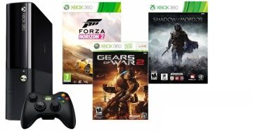 Microsoft Xbox 360 Slim E 500Gb Rus Black + Forza Horizon 2 + Gears of War 2 + Тени Мордора для Приставки
