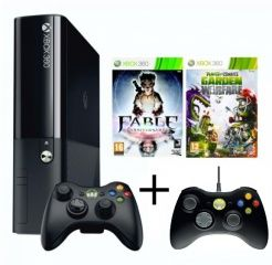 Microsoft Xbox 360 Slim E 500Gb Rus Black + Plants vs. Zombies Garden Warfare + Fable Anniversary + Джойстик проводной Controller Standard для Xbox 360 для Приставки