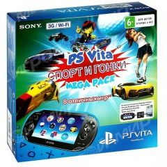 Купить Игровая приставка Sony PlayStation Vita 3G/Wi-Fi Crystal Black RUS (Чёрная) + Mega Pack Sport 8 игр + Карта памяти 8 GB Sony PlayStation PS Vita