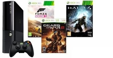 Microsoft Xbox 360 Slim E 500Gb Rus Black + Forza Horizon 2 + Gears of War 2 + Halo 4 для Приставки