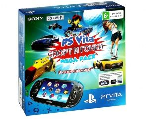 Купить Игровая приставка Sony PlayStation Vita 3G/Wi-Fi Crystal Black RUS (Чёрная) + Mega Pack Sport 8 игр + Карта памяти 16 GB Sony PlayStation PS Vita